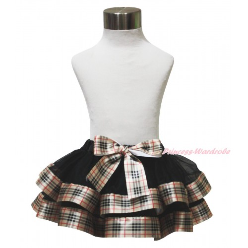 Black & Gold Black Checked Trimmed Full Pettiskirt & Bow P222