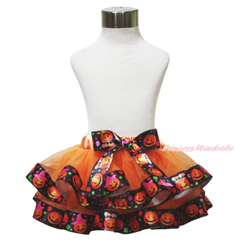 Halloween Orange Pumpkin Trimmed Full Pettiskirt & Bow P223