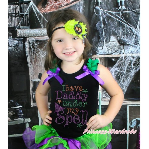 Halloween Black Tank Top Kelly Green Ruffles Dark Purple Bow & Sparkle Rhinestone I Have Daddy Under My Spell Print TB1241