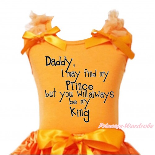 Father's Day Orange Tank Top Orange Ruffles & Bow & Daddy Always Be my King Print TB1243