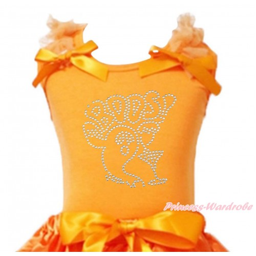 Halloween Orange Tank Top Orange Ruffles & Bow & Sparkle Rhinestone BOOS! Print TB1244