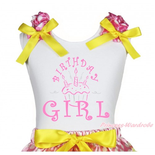 White Tank Top Hot Pink White Dots Ruffles Yellow Bow & Birthday Girl Print TB1246