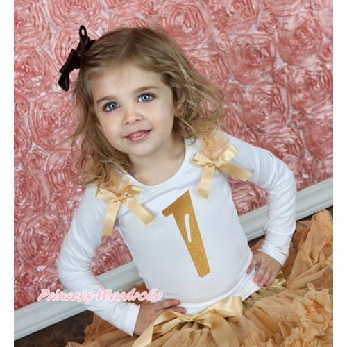 White Tank Top Goldenrod Ruffles & Bow & 1st Sparkle Gold Birthday Number Print TB1247