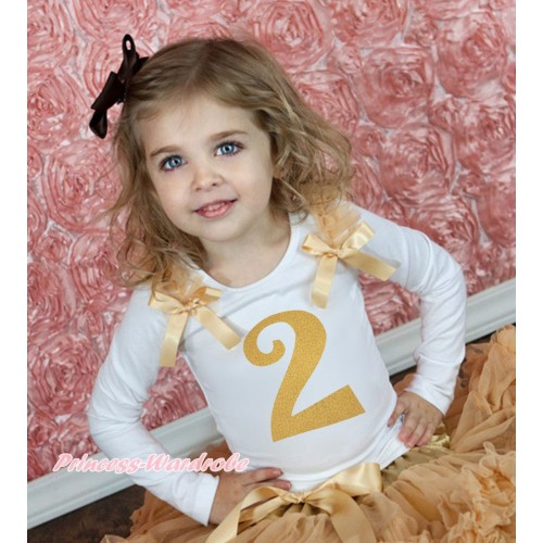 White Tank Top Goldenrod Ruffles & Bow & 2nd Sparkle Gold Birthday Number Print TB1248