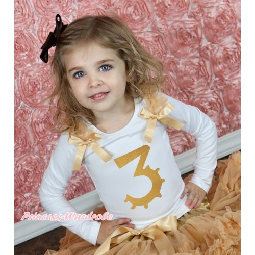 White Tank Top Goldenrod Ruffles & Bow & 3rd Sparkle Gold Birthday Number Print TB1249
