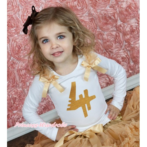White Tank Top Goldenrod Ruffles & Bow & 4th Sparkle Gold Birthday Number Print TB1250
