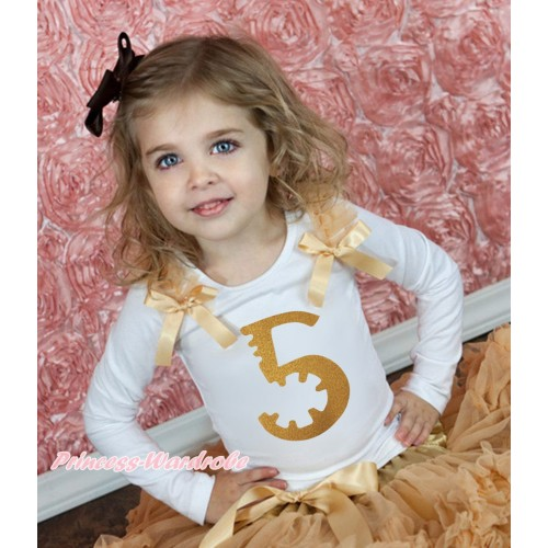 White Tank Top Goldenrod Ruffles & Bow & 5th Sparkle Gold Birthday Number Print TB1251
