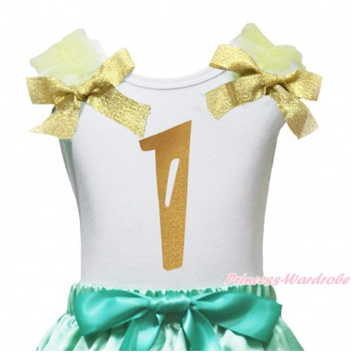 White Tank Top Yellow Ruffles Goldenrod Bow & 1st Sparkle Gold Birthday Number Painting TB1253