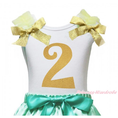 White Tank Top Yellow Ruffles Goldenrod Bow & 2nd Sparkle Gold Birthday Number Painting TB1254