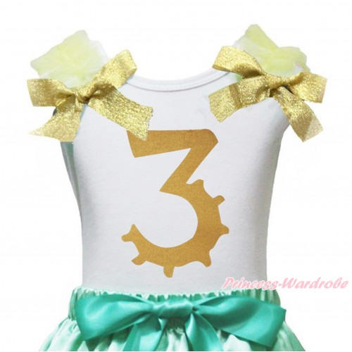 White Tank Top Yellow Ruffles Goldenrod Bow & 3rd Sparkle Gold Birthday Number Painting TB1255