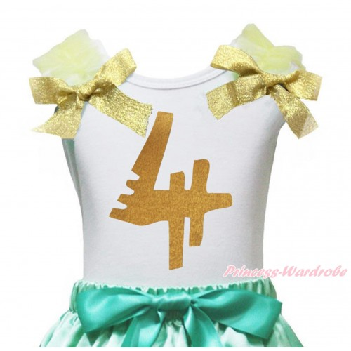 White Tank Top Yellow Ruffles Goldenrod Bow & 4th Sparkle Gold Birthday Number Painting TB1256