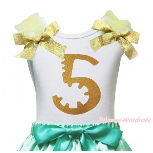 White Tank Top Yellow Ruffles Goldenrod Bow & 5th Sparkle Gold Birthday Number Painting TB1257