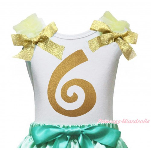 White Tank Top Yellow Ruffles Goldenrod Bow & 6th Sparkle Gold Birthday Number Painting TB1258