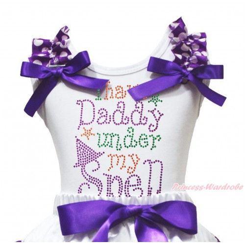 Halloween White Tank Top Purple White Dots Ruffles Dark Purple Bow & Sparkle Rhinestone I Have Daddy Under My Spell Print TB1259