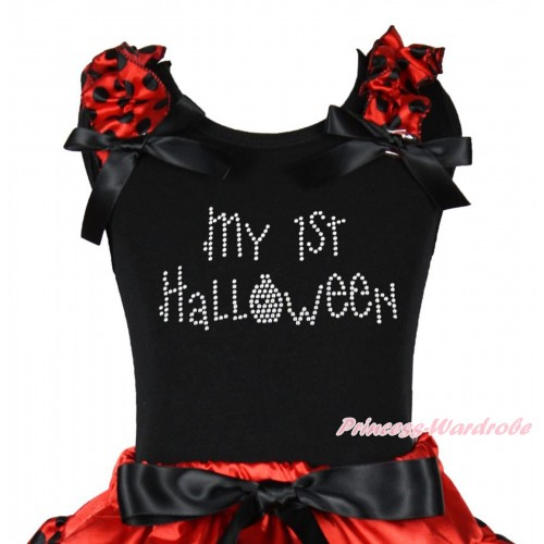 Halloween Black Tank Top Red Black Dots Ruffles Black Bow & Sparkle Rhinestone My 1st Halloween Print TB1260
