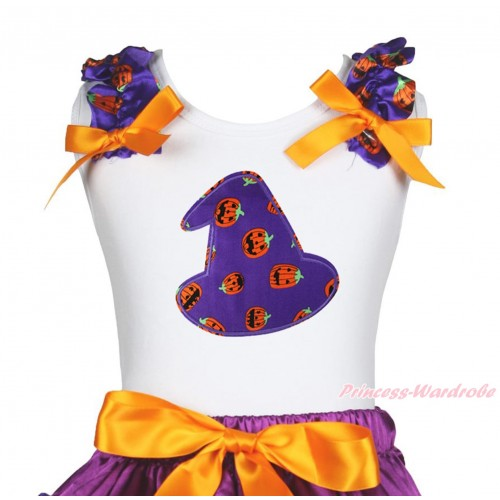 Halloween White Tank Top Purple Pumpkin Ruffles Orange Bow & Purple Pumpkin Hat Print TB1262