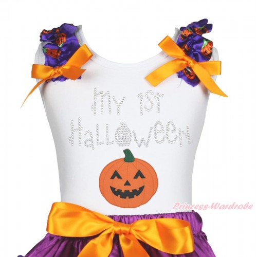 Halloween White Tank Top Purple Pumpkin Ruffles Orange Bow & Sparkle Rhinestone My 1st Halloween Pumpkin Print TB1263