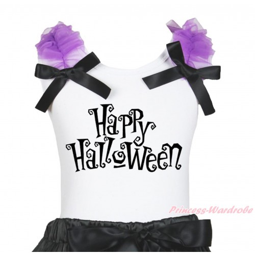 Halloween White Tank Top Dark Purple Ruffles Black Bow & Happy Halloween Print TB1264