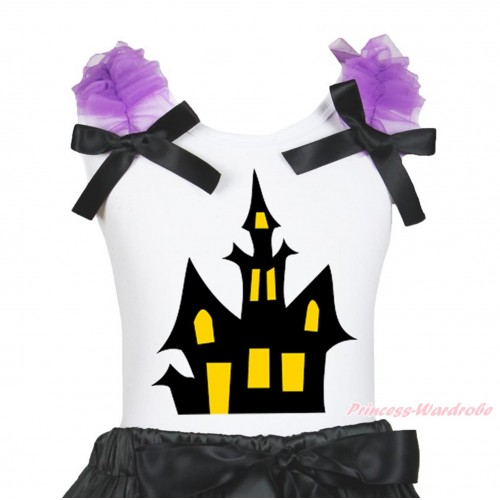 Halloween White Tank Top Dark Purple Ruffles Black Bow & Haunted House Print TB1265