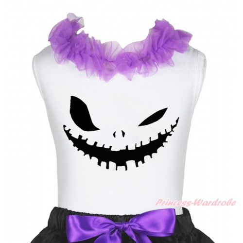 Halloween White Tank Top Dark Purple Lacing & Ghost Face Print TB1266