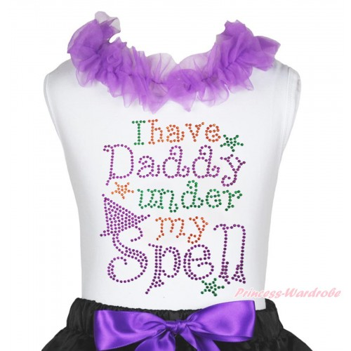 Halloween White Tank Top Dark Purple Lacing & Sparkle Rhinestone I Have Daddy Under My Spell Print TB1267