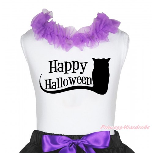 Halloween White Tank Top Dark Purple Lacing & Happy Halloween Owl Print TB1268