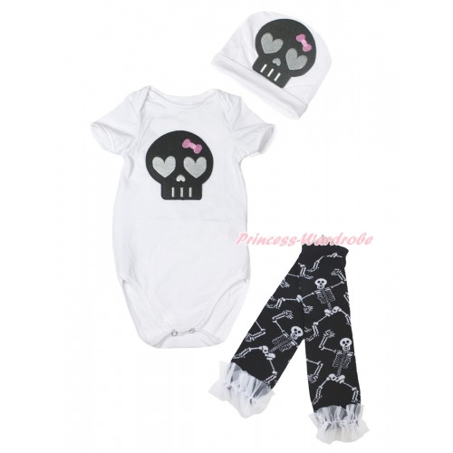 Halloween White Baby Jumpsuit Black Skeleton Print & Cap & White Ruffles Black White Skeleton Bones Leg Warmer Set TH619