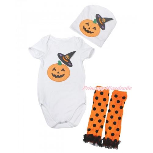 Halloween White Baby Jumpsuit Witch Hat & Pumpkin Print & Cap & Black Ruffles Orange Black Dots Leg Warmer Set TH620
