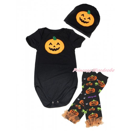 Halloween Black Baby Jumpsuit Pumpkin Print & Cap & Orange Ruffles Black Pumpkin Leg Warmer Set TH622