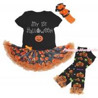 Halloween Black Bodysuit Spider Web Pumpkin Pettiskirt & Rhinestone My 1st Halloween Pumpkin & Headband & Warmers Leggings JS4715