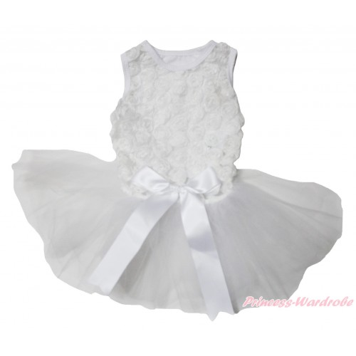 Valentine's Day White Romantic Rose Sleeveless Gauze Skirt & Bow Pet Dress DC216