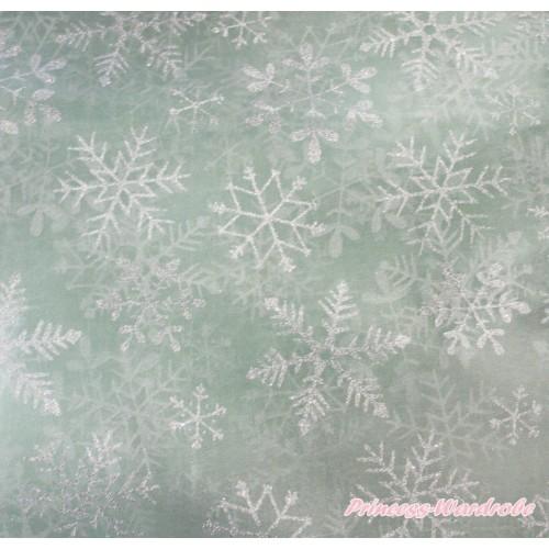 1 Yard Elsa Sparkle Bling Silver Grey Snowflakes Aqua Blue Organza Fabrics HG154