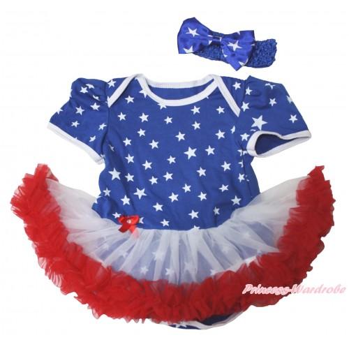 American Stars Baby Bodysuit White Red Pettiskirt JS4732