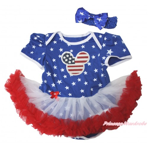 American Stars Baby Bodysuit White Red Pettiskirt & American Striped Stars Minnie Print JS4735