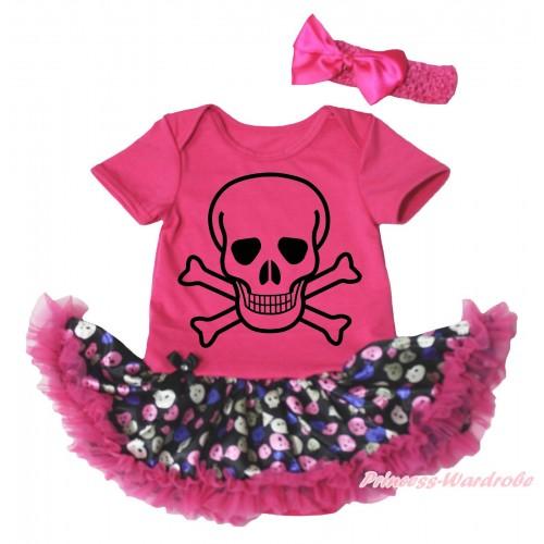 Halloween Hot Pink Baby Bodysuit Rainbow Skeleton Pettiskirt & Smile Skeleton Print JS4748