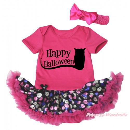 Halloween Hot Pink Baby Bodysuit Rainbow Skeleton Pettiskirt & Happy Halloween Owl Print JS4749
