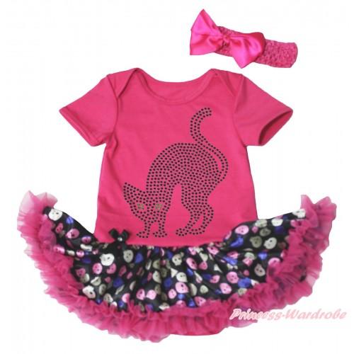 Halloween Hot Pink Baby Bodysuit Rainbow Skeleton Pettiskirt & Sparkle Rhinestone Black Cat Print JS4750