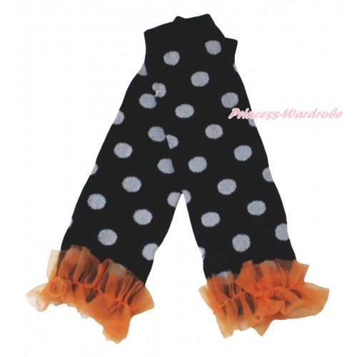 Halloween Newborn Baby Black Grey Dots Leg Warmers Leggings & Orange Ruffles LG298