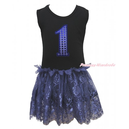 Black Sleeveless Navy Blue Lace ONE-PIECE Party Dress & 1st Sparkle Royal Blue Birthday Number LP224
