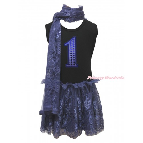 Black Sleeveless Navy Blue Lace ONE-PIECE Scarf Party Dress Set & 1st Sparkle Royal Blue Birthday Number Print LP226