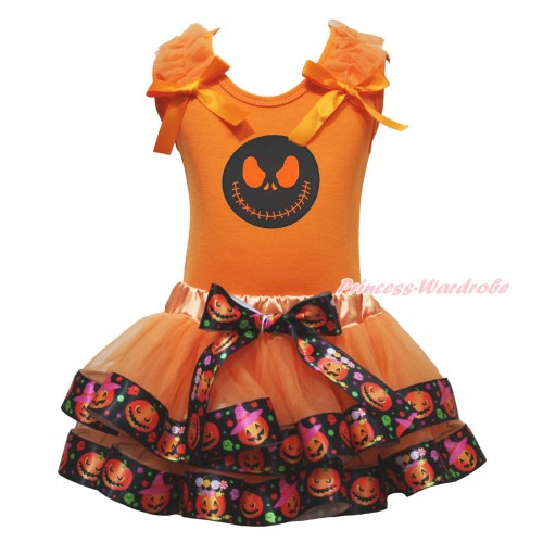 Halloween Orange Baby Pettitop Ruffles Bow & Nightmare Before Christmas Jack Print & Orange Black Pumpkin Trimmed Baby Pettiskirt NG1814