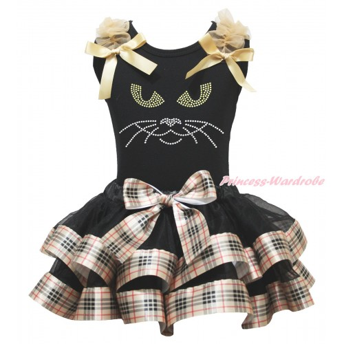 Halloween Black Baby Pettitop Goldenrod Ruffles & Bows & Rhinestone Black Cat Face Print & Black Gold Black Checked Trimmed Newborn Pettiskirt NG1821