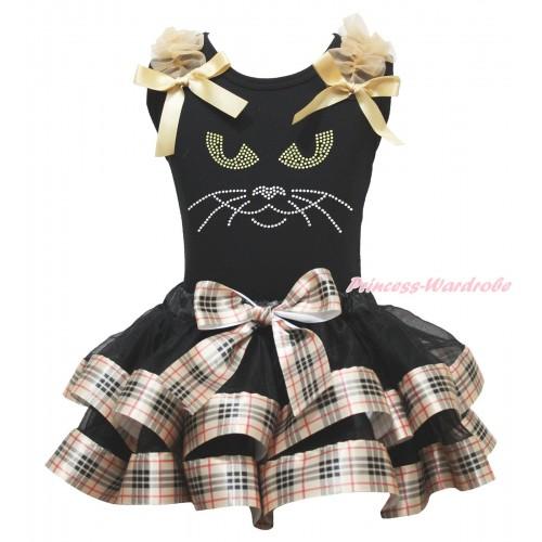 Halloween Black Baby Pettitop Goldenrod Ruffles & Bows & Rhinestone Black Cat Face Print & Black Gold Black Checked Trimmed Newborn Pettiskirt NG1821