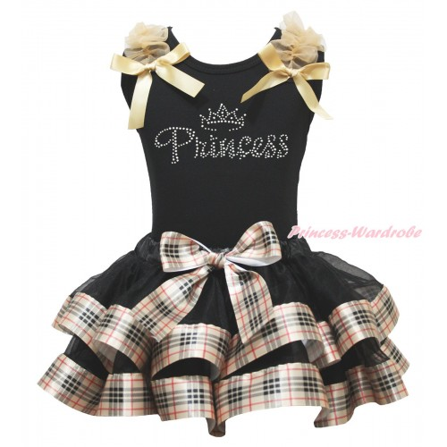 Black Baby Pettitop Goldenrod Ruffles & Bows & Rhinestone Princess Print & Black Gold Black Checked Trimmed Newborn Pettiskirt NG1822