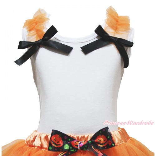 Halloween White Tank Top Orange Ruffles Black Bow T497