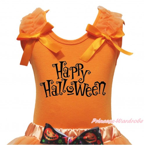 Halloween Orange Tank Top Orange Ruffles & Bow & Happy Halloween Print TB1242