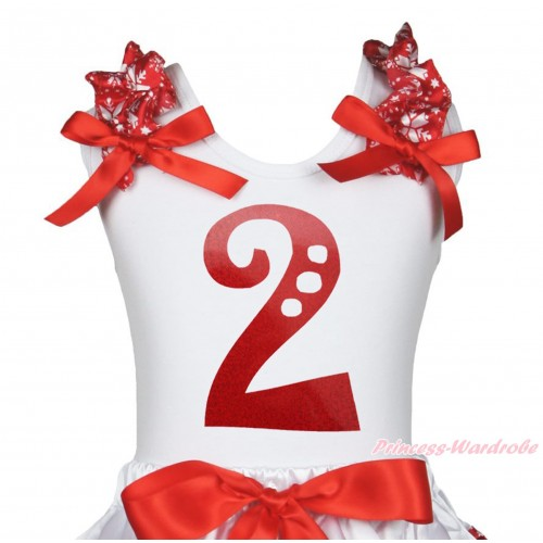 Xmas White Tank Top Red Snowflakes Ruffles Red Bow & 2nd Sparkle Red Birthday Number Painting TB1270