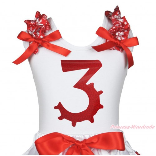 Xmas White Tank Top Red Snowflakes Ruffles Red Bow & 3rd Sparkle Red Birthday Number Painting TB1271
