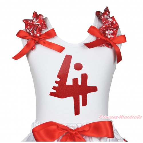 Xmas White Tank Top Red Snowflakes Ruffles Red Bow & 4th Sparkle Red Birthday Number Painting TB1272