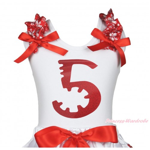 Xmas White Tank Top Red Snowflakes Ruffles Red Bow & 5th Sparkle Red Birthday Number Painting TB1273